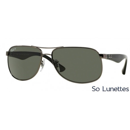 lunettes de soleil ray ban homme rb3502 rb3502 004 58 monture grise verres vert polaris. Black Bedroom Furniture Sets. Home Design Ideas