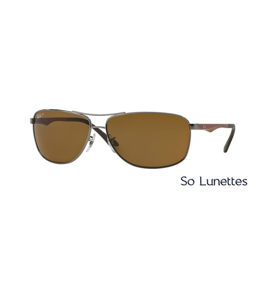 lunettes de soleil ray ban homme rb3506 rb3506 132 83 monture grise verres marron polaris. Black Bedroom Furniture Sets. Home Design Ideas