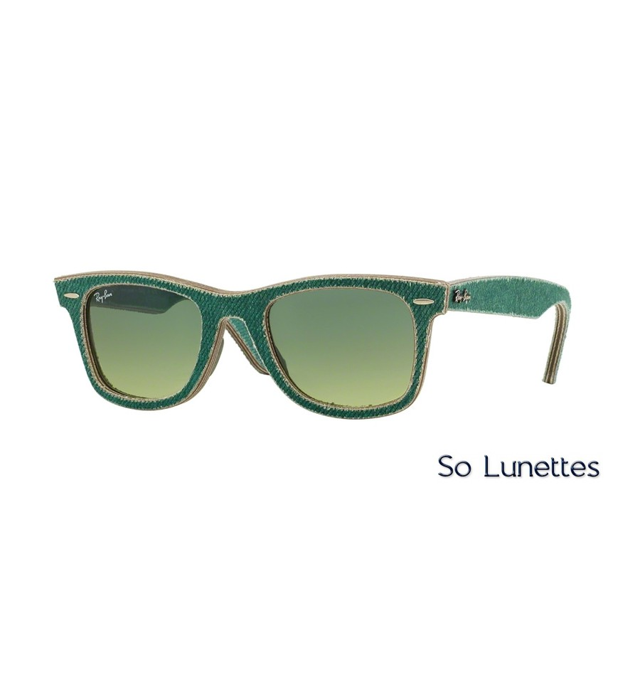 lunettes de soleil ray ban wayfarer rb2140 11663m monture verte verres vert d grad. Black Bedroom Furniture Sets. Home Design Ideas