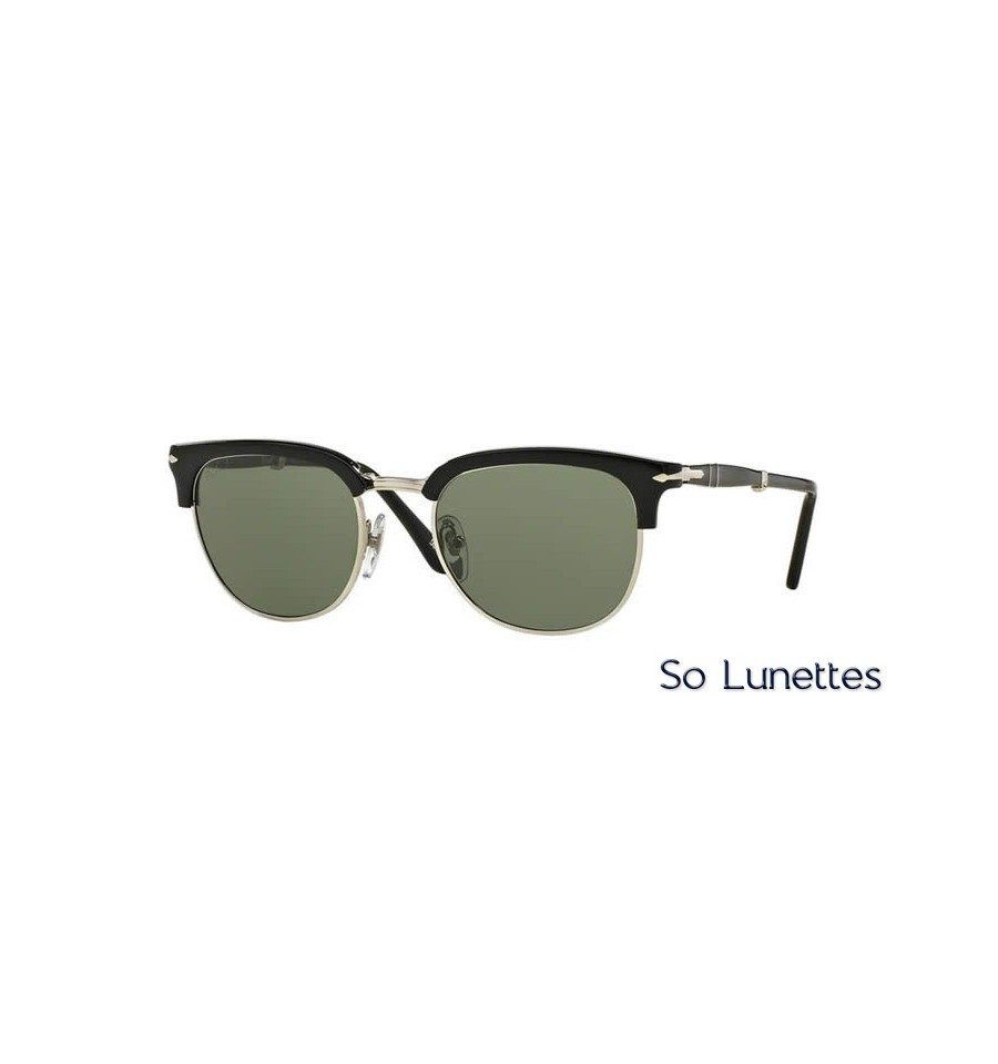 lunette de soleil persol homme 0po3132s 95 31 monture noir verres vert. Black Bedroom Furniture Sets. Home Design Ideas