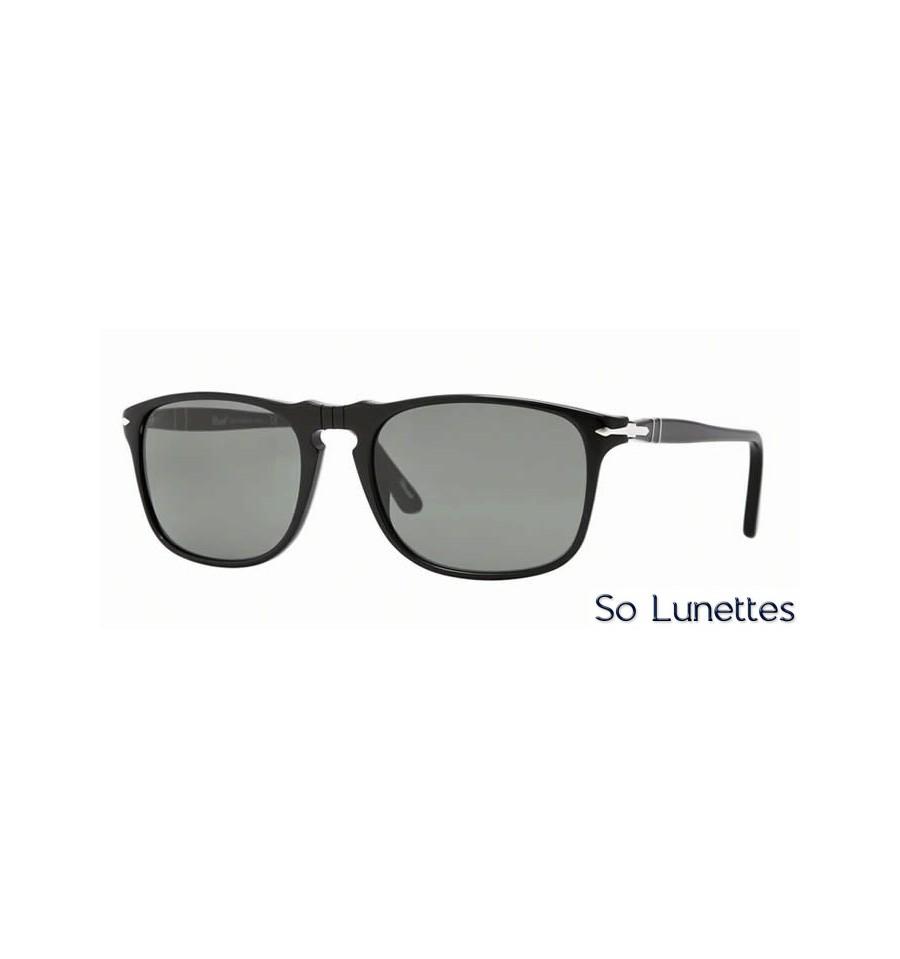 lunette de soleil persol homme 0po3059s 95 31 monture noir verres vert. Black Bedroom Furniture Sets. Home Design Ideas
