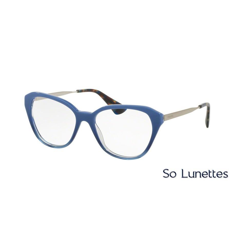 lunettes de vue prada femme pr 28sv ufw1o1 monture bleu. Black Bedroom Furniture Sets. Home Design Ideas