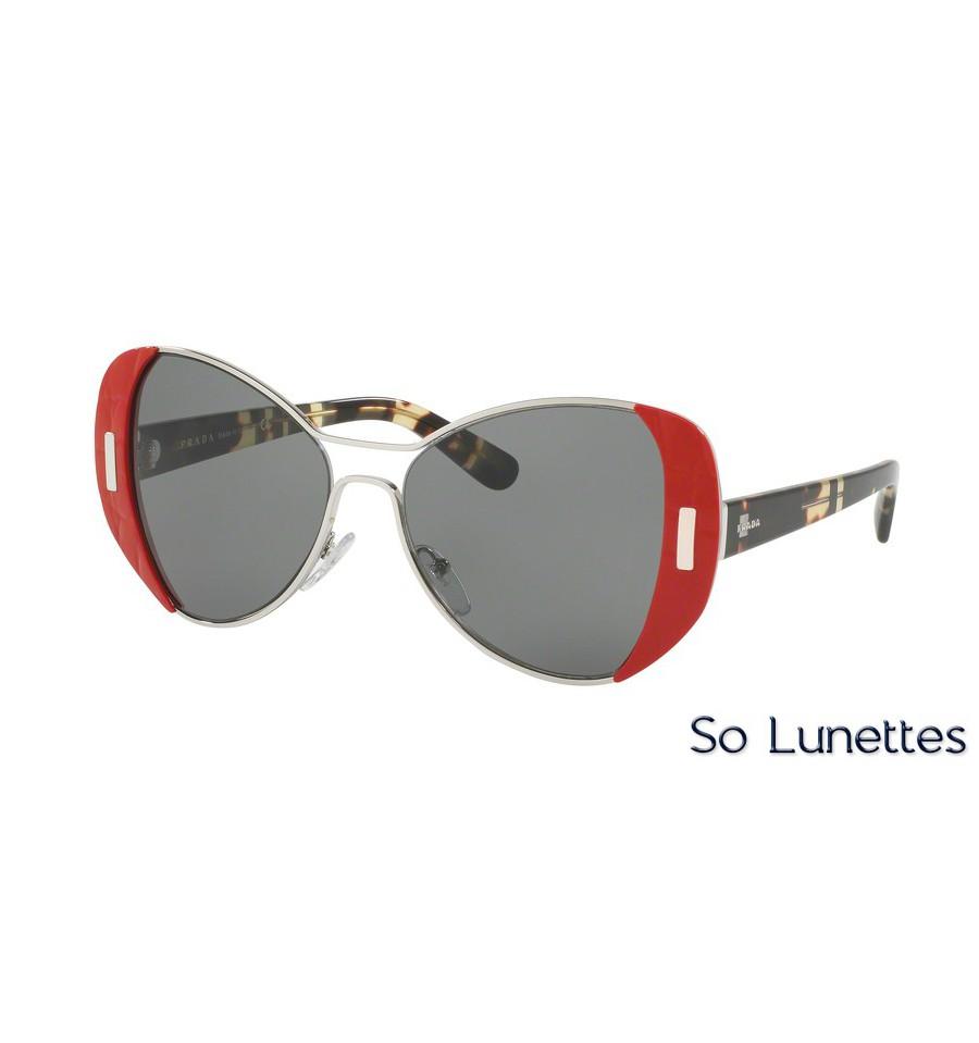 lunettes de soleil prada femme pr 60ss smn9k1 monture rouge verre gris. Black Bedroom Furniture Sets. Home Design Ideas