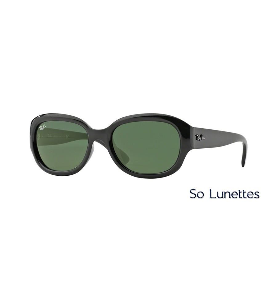 lunettes de soleil ray ban femme rb4198 601 monture noire verres vertes. Black Bedroom Furniture Sets. Home Design Ideas