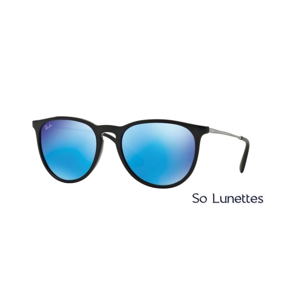 lunettes de soleil ray ban homme erika rb4171 601 55 monture noire verres bleu miroit. Black Bedroom Furniture Sets. Home Design Ideas
