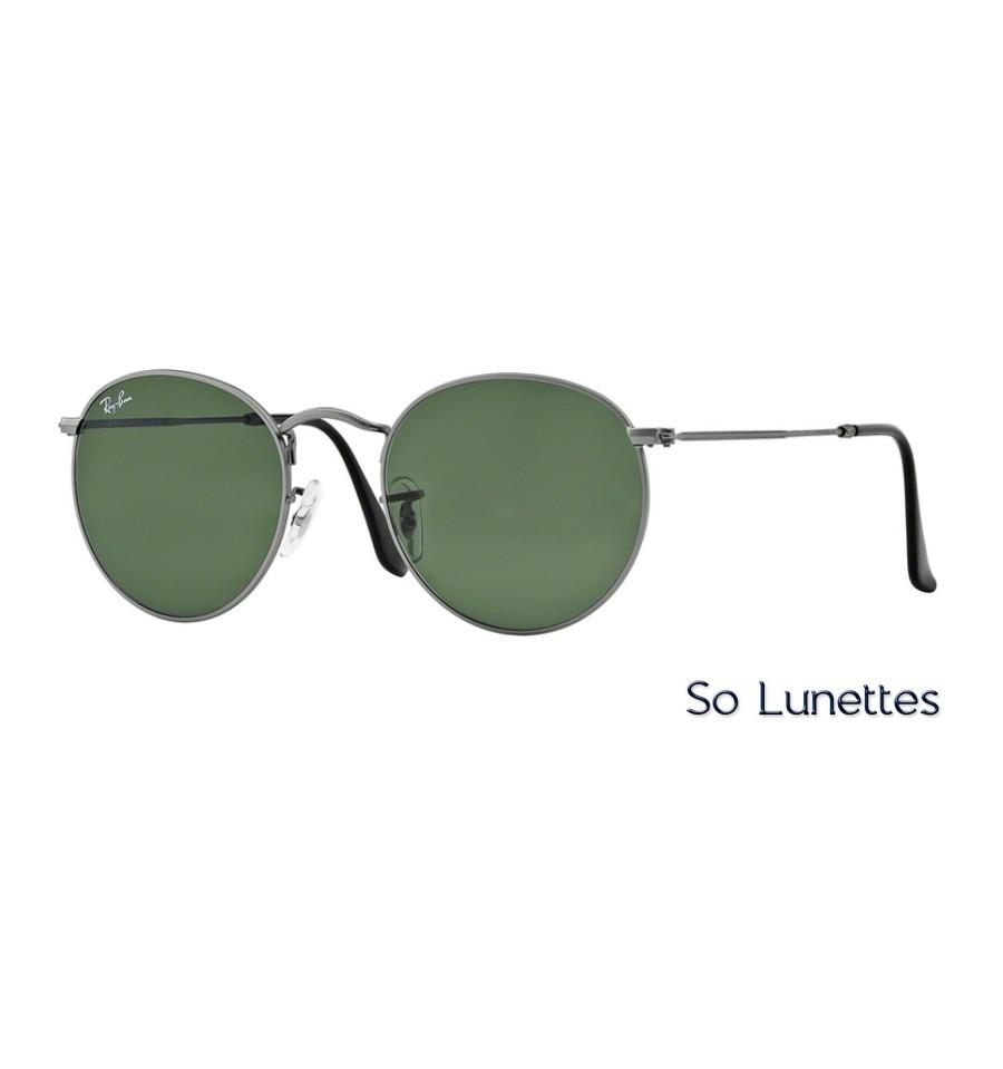 lunettes de soleil ray ban homme round metal rb3447 29 monture grise verres vert polaris. Black Bedroom Furniture Sets. Home Design Ideas
