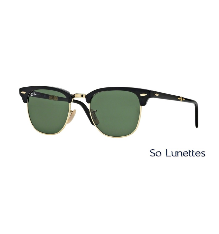 lunettes de soleil ray ban clubmaster folding rb2176 901 monture noire verres vertes. Black Bedroom Furniture Sets. Home Design Ideas