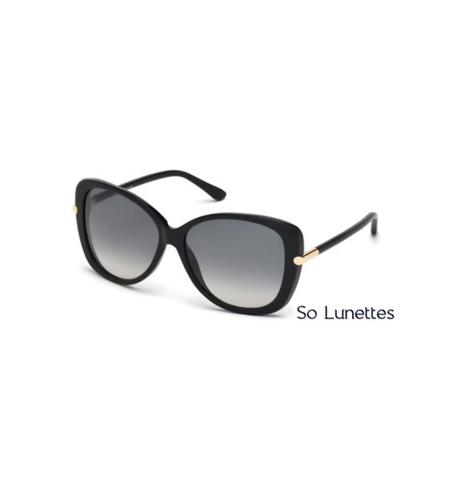 8f8332cb1c909c Lunettes de soleil Tom Ford FT0324 01B noir brillant - gris fumé