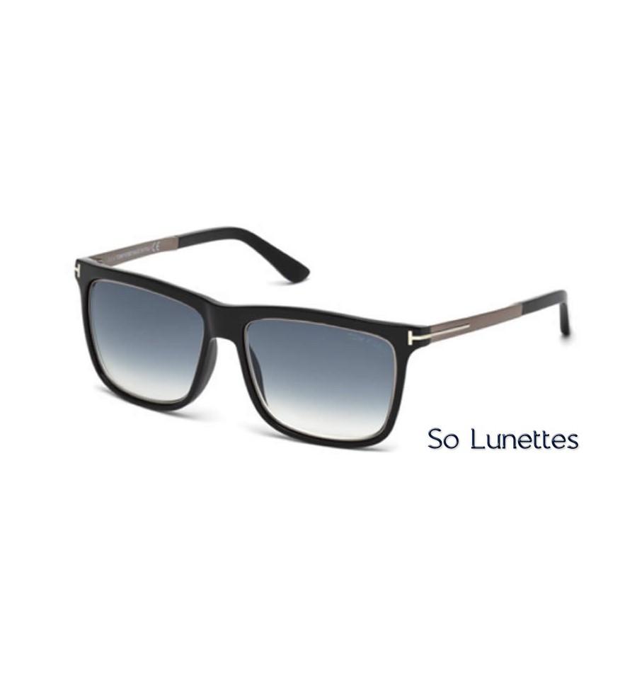 3c848b11fd32bf Lunettes de soleil Tom Ford FT0392 02W noir opaque - bleu fumé