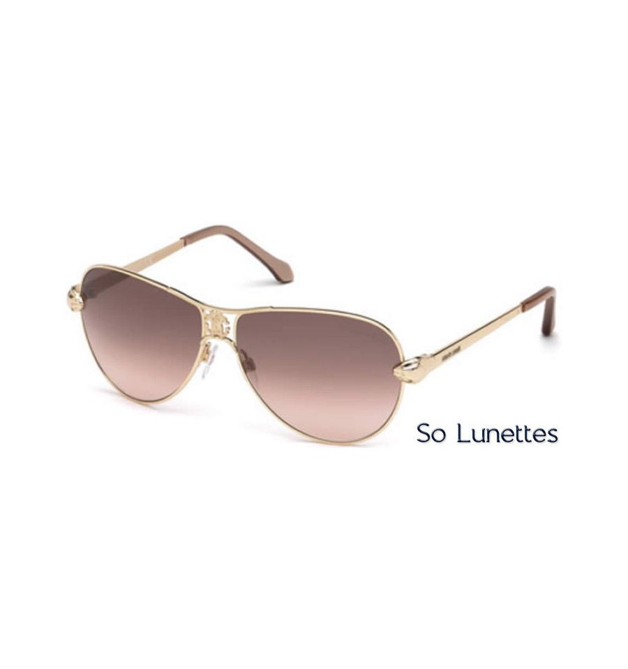 Lunettes de soleil Roberto Cavalli RC883S 28F or rosé brillant - marron fumé 8eff97c6c674