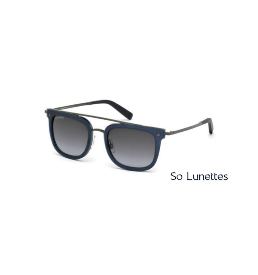 Lunette de soleil Dsquared2 DQ0201 91W bleu opaque - bleu fumé 014ec8c40add