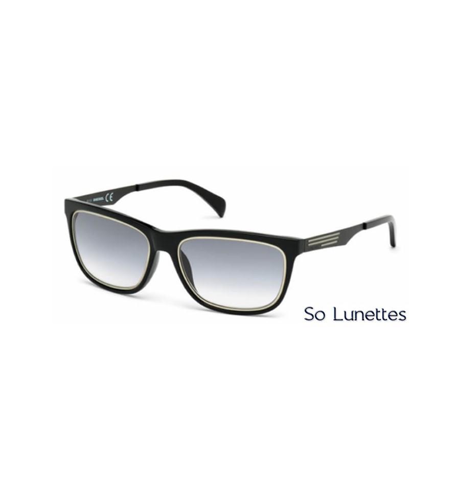 Lunette de soleil Diesel DL0165 01B Noir brillant - gris fumé a1c5d3d4e22d