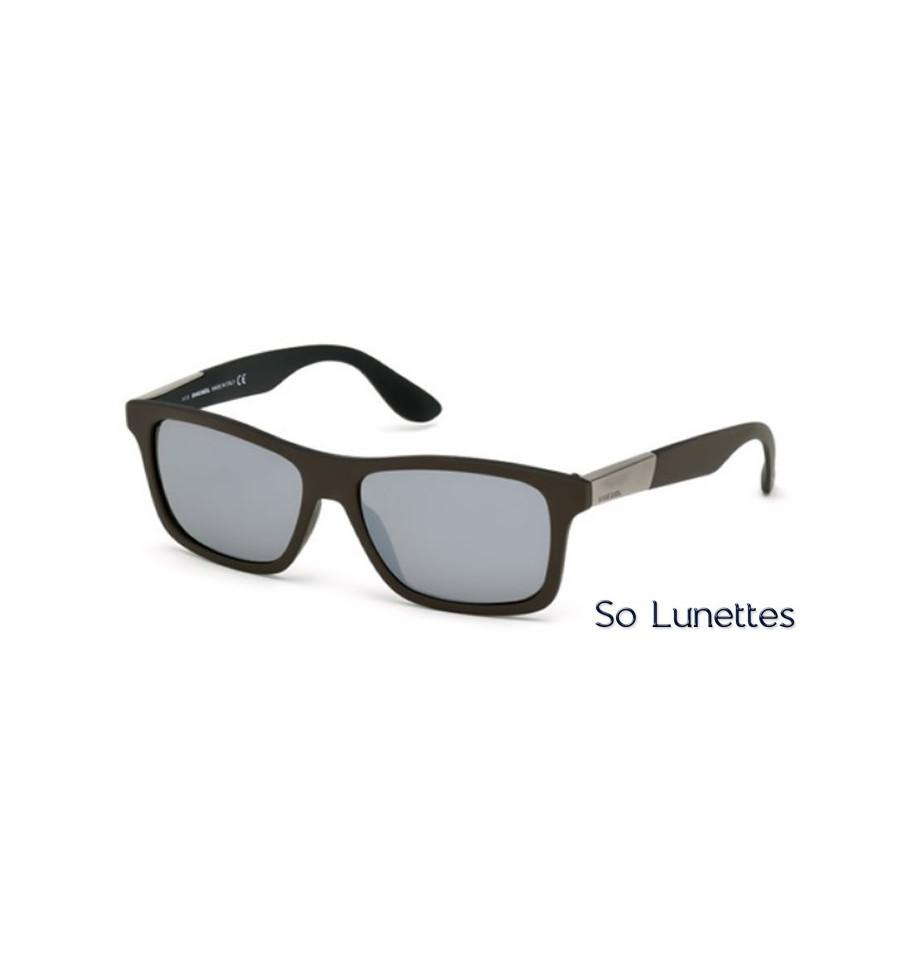 Lunette de soleil Diesel DL0184 98C Vert foncé - gris miroité b90300efa619