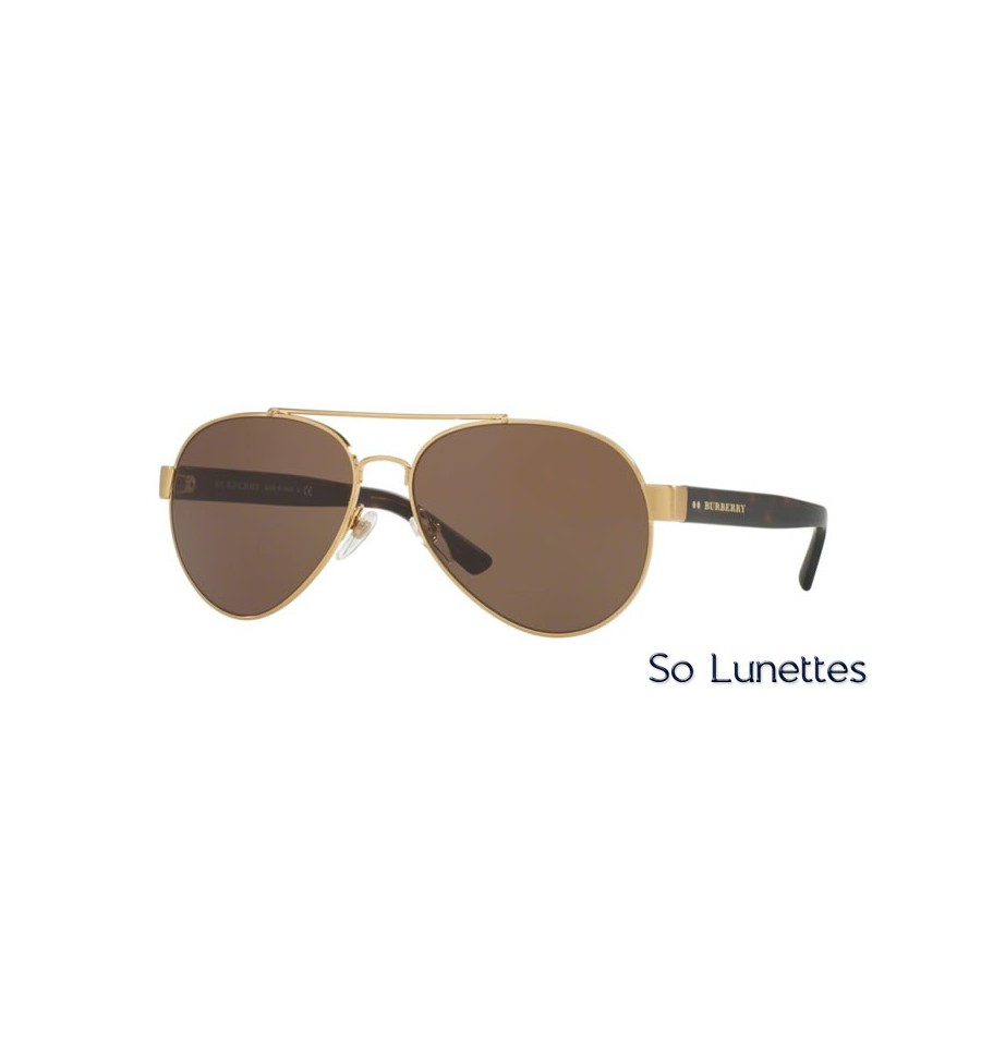 lunette de soleil burberry homme 0be3086 10525w monture or verres marron. Black Bedroom Furniture Sets. Home Design Ideas