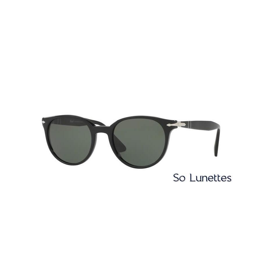 lunette de soleil persol homme 0po3151s 95 31 monture noir verres vert. Black Bedroom Furniture Sets. Home Design Ideas
