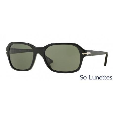lunette de soleil persol unisexe 0po3136s 95 31 monture noir verres vert. Black Bedroom Furniture Sets. Home Design Ideas