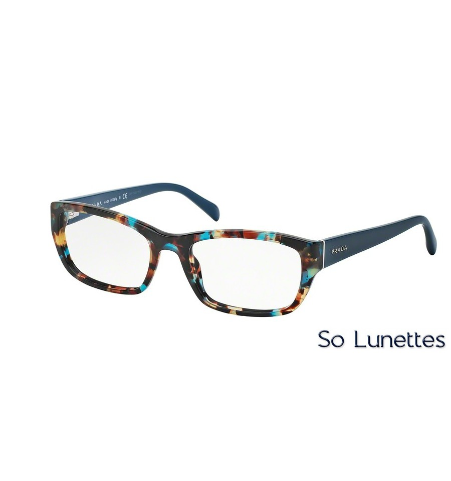 lunettes de vue prada femme pr 18ov nag1o1 bleu. Black Bedroom Furniture Sets. Home Design Ideas