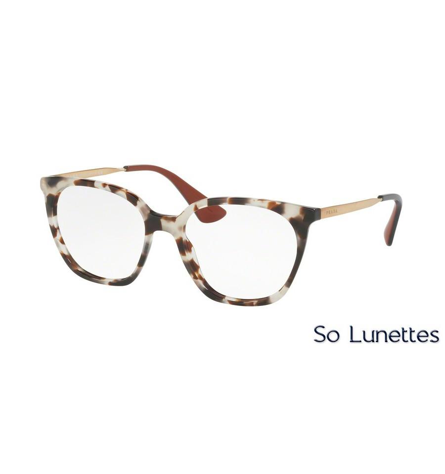lunettes de vue prada femme pr 11tv uao1o1 monture blanc. Black Bedroom Furniture Sets. Home Design Ideas