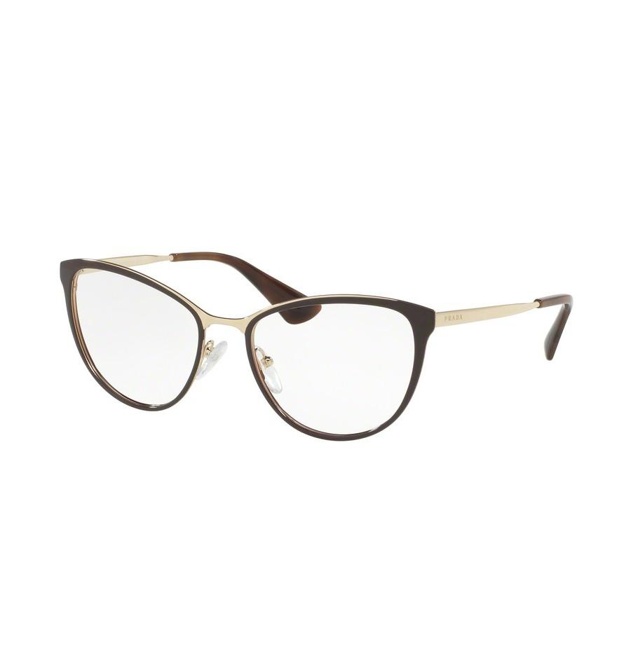 lunettes de vue prada femme pr 55tv dho1o1 monture marron. Black Bedroom Furniture Sets. Home Design Ideas