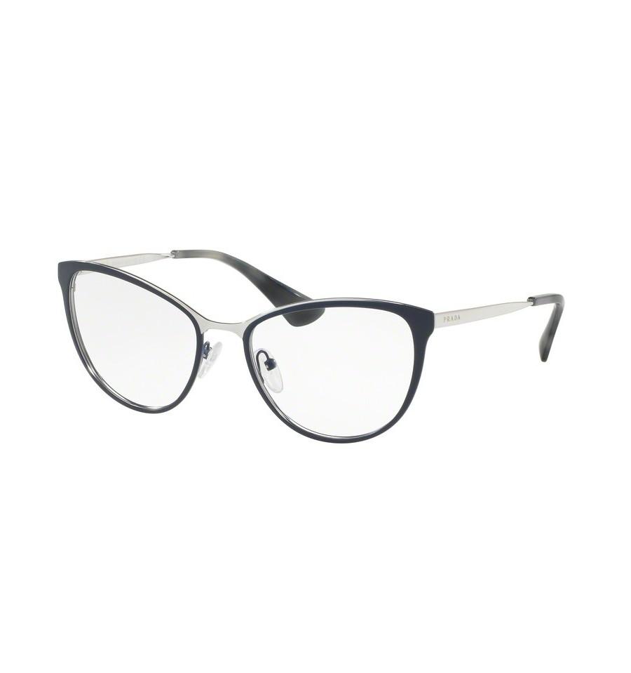 lunettes de vue prada femme pr 55tv u6r1o1 monture bleu. Black Bedroom Furniture Sets. Home Design Ideas
