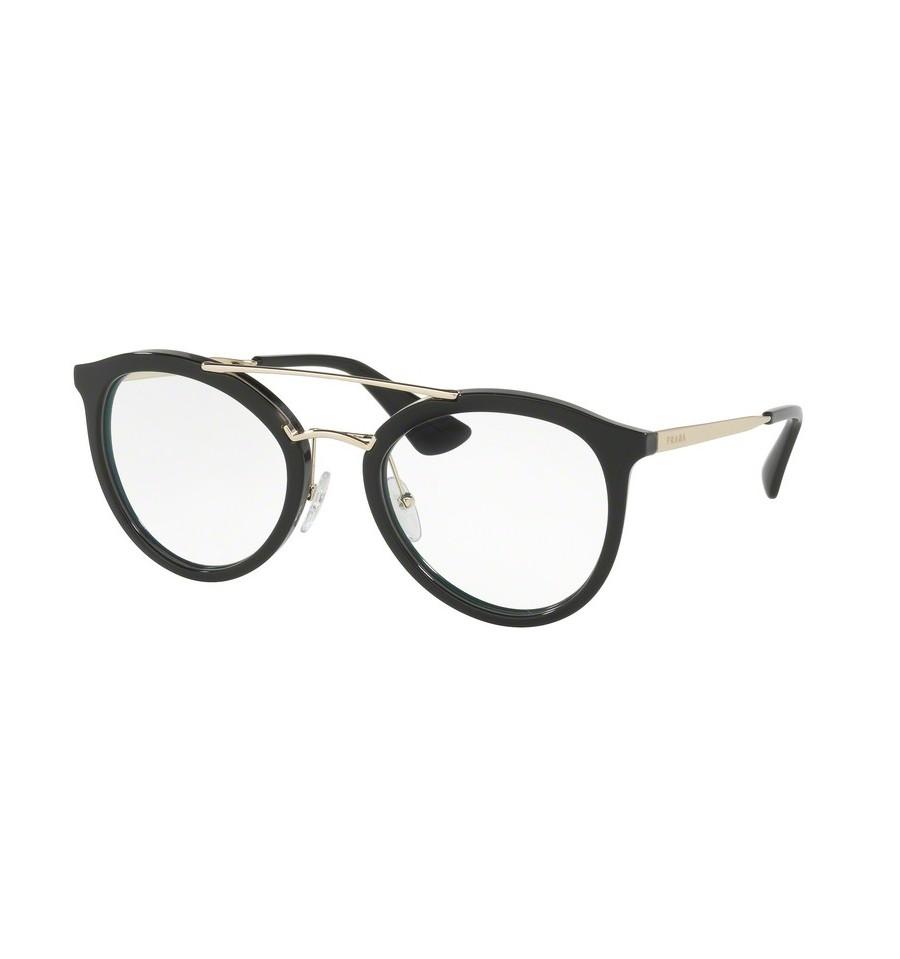 lunettes de vue prada femme pr 15tv 1ab1o1 monture noir. Black Bedroom Furniture Sets. Home Design Ideas