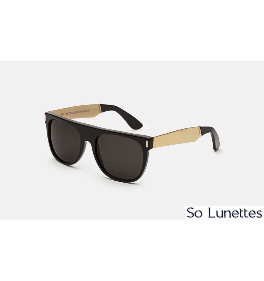 Retrosuperfuture Flat Top Francis Black Gold - So-Lunettes 69d2137a7a72
