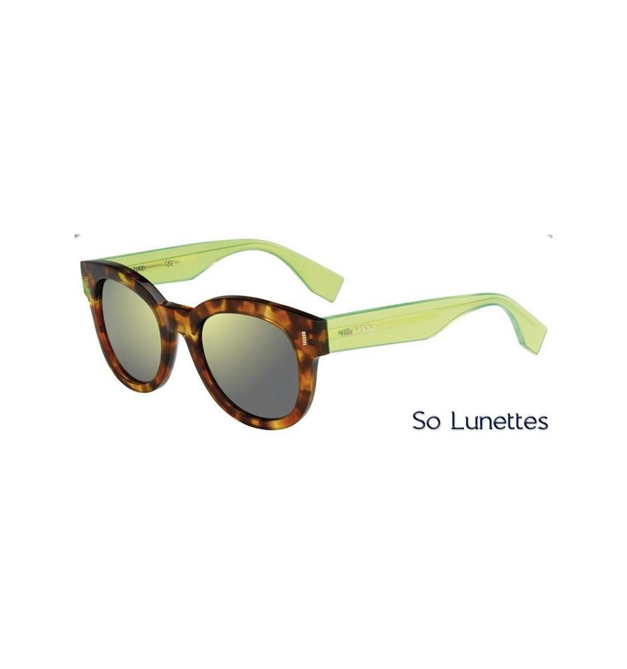 lunettes de soleil fendi femme ff 0026 s 7or qu monture havane vert fluorescent verres jaunes. Black Bedroom Furniture Sets. Home Design Ideas