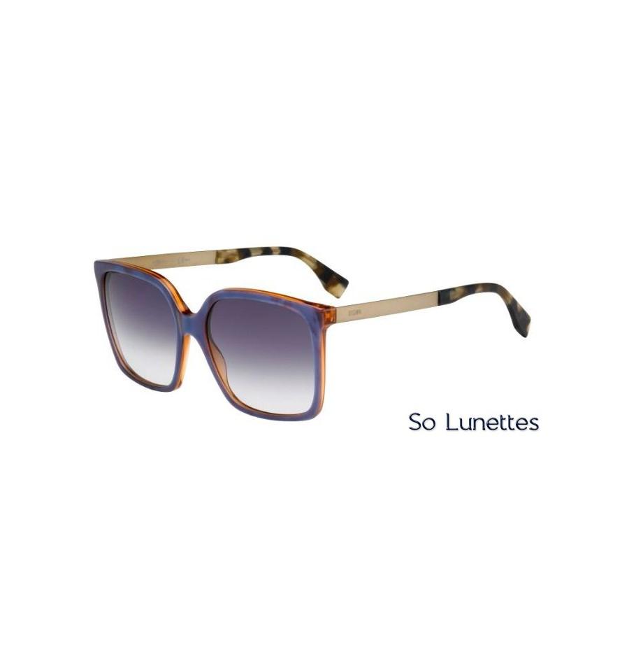 ff0a5ba0cb988c Lunettes de soleil Fendi Femme FF 0076 S DXI (DG) monture bleue ...